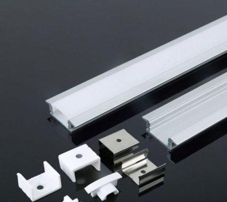 Alumínium profil LED szalaghoz 2 méter tejfehér fedlappal - PC3350