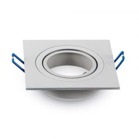 Beépíthető lámpatest - GU10 beépítőkeret - Szögletes billenthető - fehér - alumínium