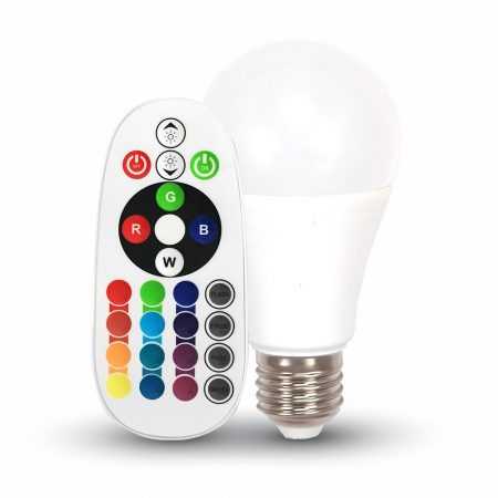 LED IZZÓ - 6W E27 A60 RGB + 6400K TÁVIRÁNYÍTÓVAL - PC7151