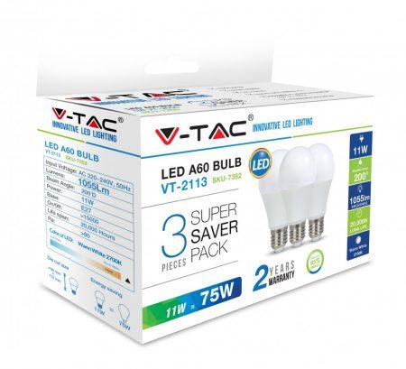 11W LED IZZÓ E27 A60 2700K 3DB/CSOMAG - PC7352